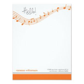 """La música observa las tarjetas de nota planas de invitación 4.25"""" x 5.5"""""""