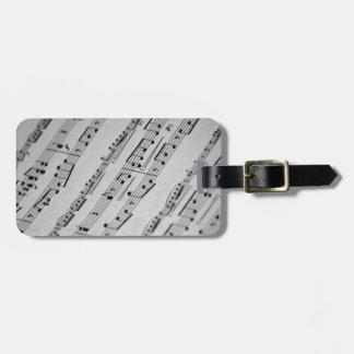 la música observa partitura etiqueta para equipaje