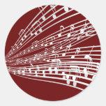 La música observa símbolos de la notación musical pegatina redonda