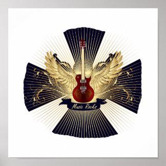 La música oscila el modelo azul guitar.png rojo posters