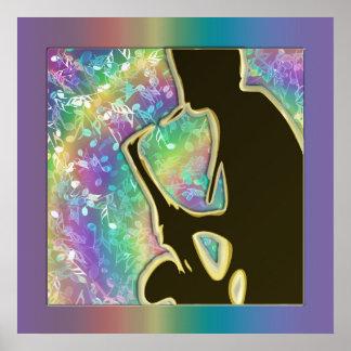 La música psicodélica del hombre del jazz observa póster