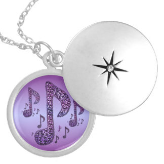 La música púrpura de la chispa observa el Locket Collar Redondo