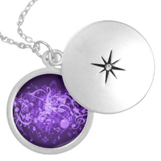 La música púrpura del resplandor observa el Locket Collar Redondo