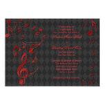 La música roja negra del Harlequin observa la Invitación 12,7 X 17,8 Cm