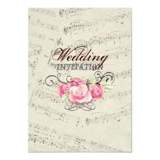 """La música romántica moderna observa el boda de la invitación 5"""" x 7"""""""
