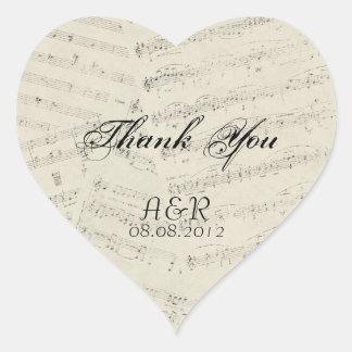 La música romántica moderna observa el boda de la pegatina en forma de corazón