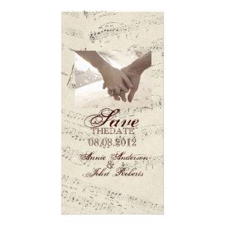 La música romántica moderna observa el boda de la tarjetas fotograficas personalizadas