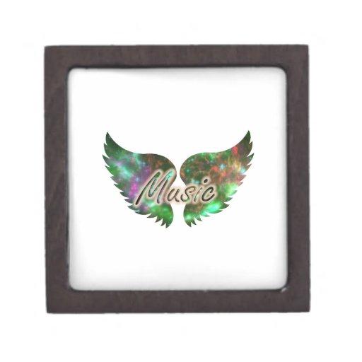 La música se va volando verde púrpura de la capa 1 cajas de joyas de calidad