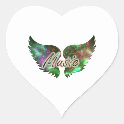 La música se va volando verde púrpura de la capa 1 pegatina en forma de corazón