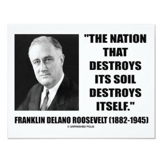 """La nación de Franklin Delano Roosevelt destruye su Invitación 4.25"""" X 5.5"""""""