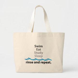 La nadada, come, estudia, duerme… aclaración y rep bolsa de tela grande