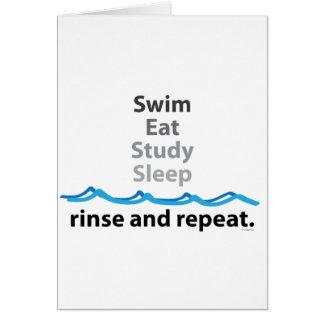 La nadada, come, estudia, duerme… aclaración y rep tarjeta de felicitación