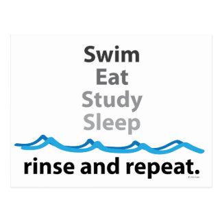 La nadada, come, estudia, duerme… aclaración y tarjeta postal