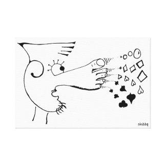La nariz del pie juega el póker impresiones en lona estiradas