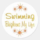 La natación aclara mi vida pegatinas redondas