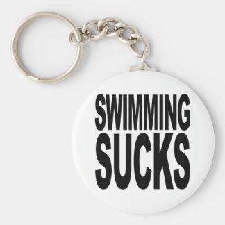 La natación chupa llavero redondo tipo pin
