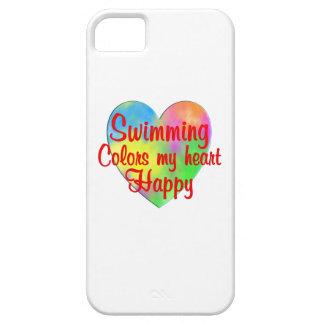 La natación colorea mi corazón feliz funda para iPhone SE/5/5s