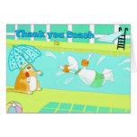 La natación divertida le agradece entrenar la tarj tarjeta