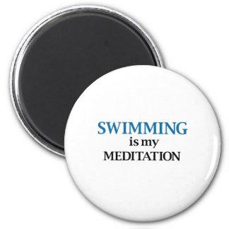 La natación es mi meditación imán redondo 5 cm