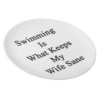 La natación es qué mantiene a mi esposa sana plato