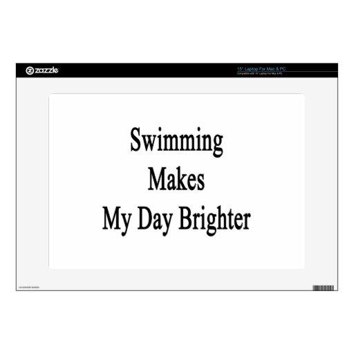 La natación hace mi día más brillante portátil 38,1cm skin