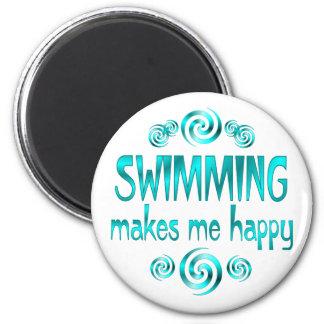 La natación me hace feliz imán redondo 5 cm