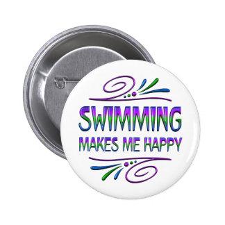 La natación me hace feliz pin redondo 5 cm