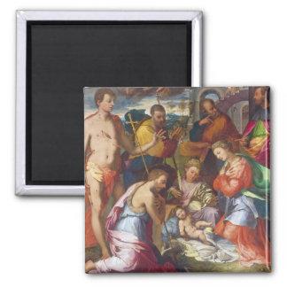 La natividad, 1534 (aceite en el panel) imán cuadrado