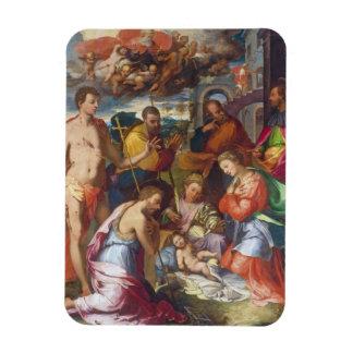 La natividad, 1534 (aceite en el panel) imanes rectangulares