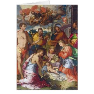 La natividad, 1534 (aceite en el panel) tarjeta de felicitación