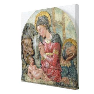 La natividad, c.1460 (terracota pintada) lona envuelta para galerías