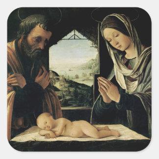 La natividad, c.1490 calcomanías cuadradas personalizadas