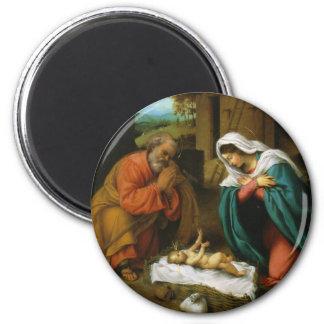 La natividad Christi Geburt de Lorenzo Lotto Imán De Nevera