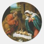 La natividad Christi Geburt de Lorenzo Lotto Etiqueta Redonda