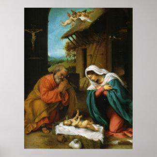La natividad Christi Geburt de Lorenzo Lotto Póster