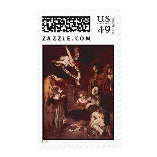 La natividad de Caravaggio - sellos del navidad