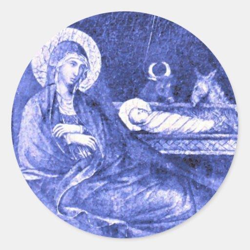 La natividad de Duccio Pegatinas Redondas