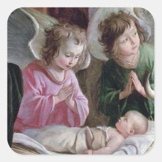 La natividad, del altar de Buxtehude, 1400-10 Pegatina Cuadrada
