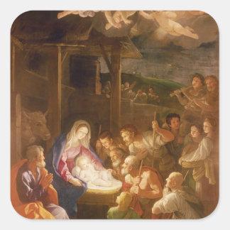 La natividad en la noche, 1640 pegatina cuadrada