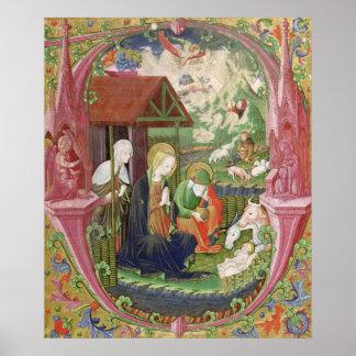 La natividad, escuela italiana septentrional póster