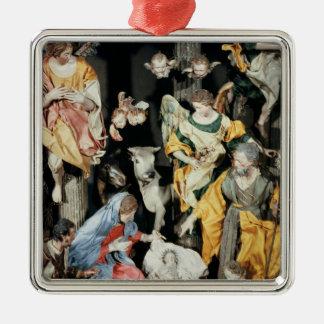 La natividad, hecha en Nápoles Adorno Cuadrado Plateado
