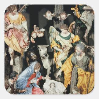 La natividad, hecha en Nápoles Pegatina Cuadrada