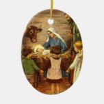 La natividad - ornamento del navidad adorno navideño ovalado de cerámica