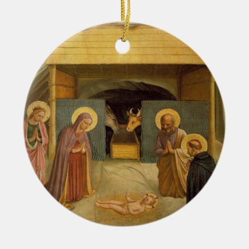 La natividad por bella arte religiosa del Fra Adorno Navideño Redondo De Cerámica