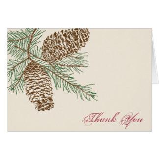 La naturaleza del cono del pino en el boda poner tarjeta pequeña