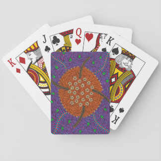 La naturaleza flota floral y se va cartas de póquer