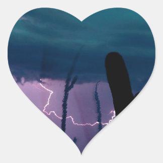 La naturaleza fuerza la tormenta de desierto pegatina en forma de corazón