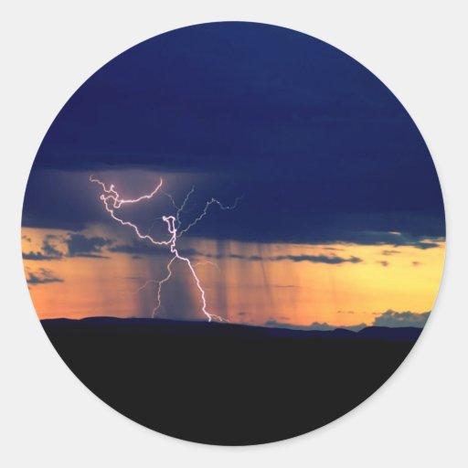 La naturaleza fuerza la tormenta Zion delantero Pegatina Redonda