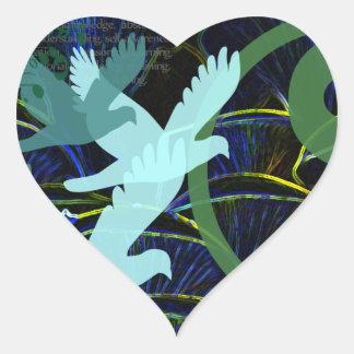 La naturaleza oculta en gráfico pegatina en forma de corazón