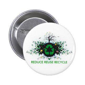 La naturaleza recicla pin redondo 5 cm